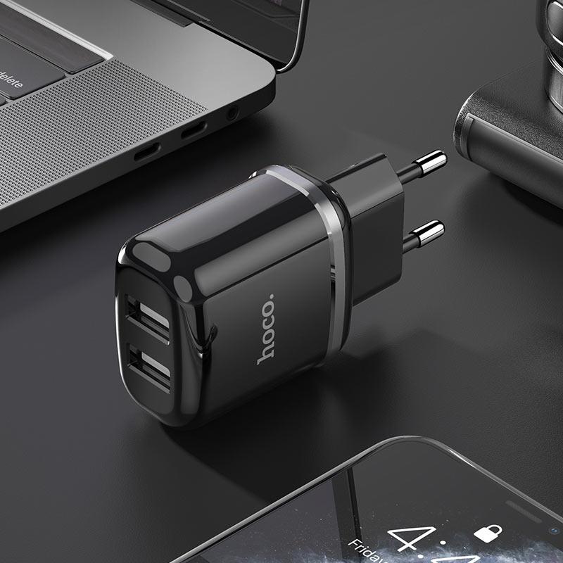hoco n4 aspiring dual port wall charger eu interior black