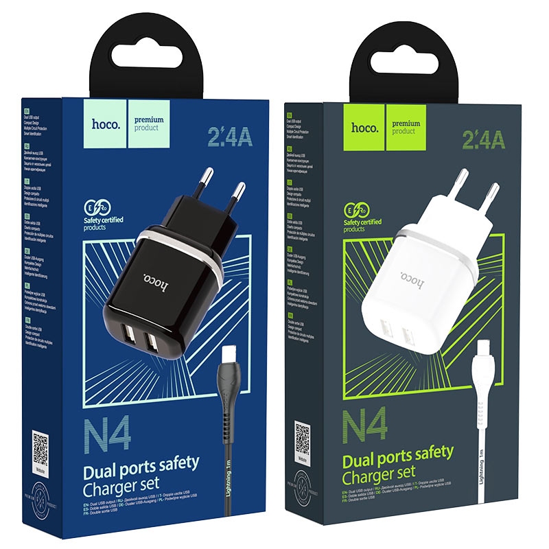 hoco n4 aspiring dual port wall charger eu set with lightning cable packages