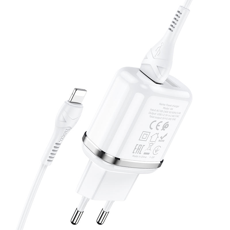 hoco n4 aspiring dual port wall charger eu set with lightning cable