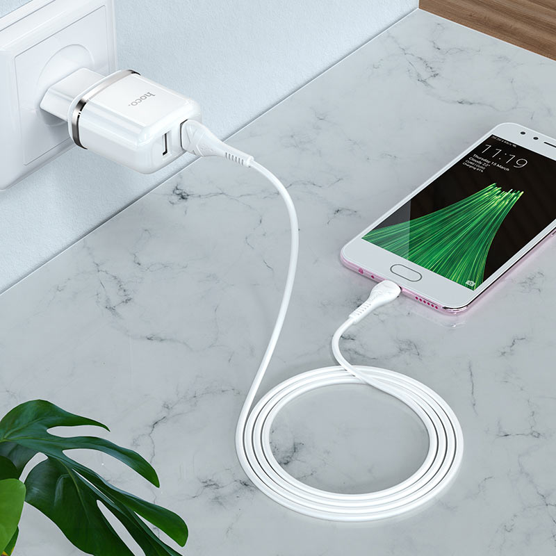 hoco n4 aspiring dual port wall charger eu set with micro usb cable interior white