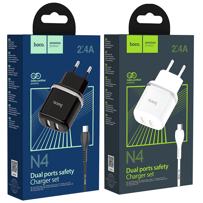hoco n4 aspiring dual port wall charger eu set with micro usb cable packages