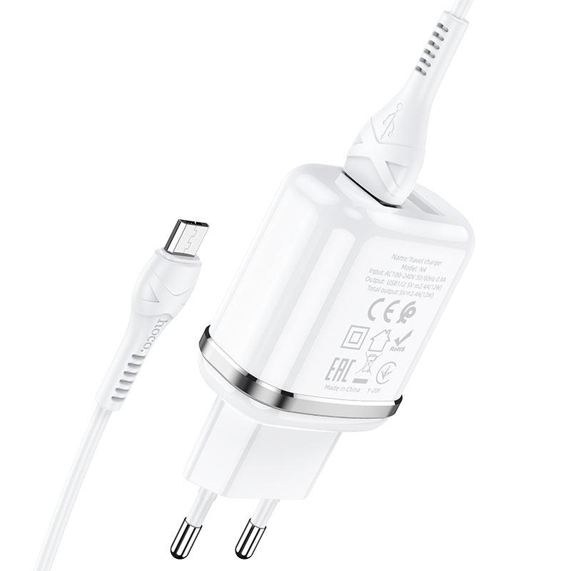 hoco n4 aspiring dual port wall charger eu set with micro usb cable