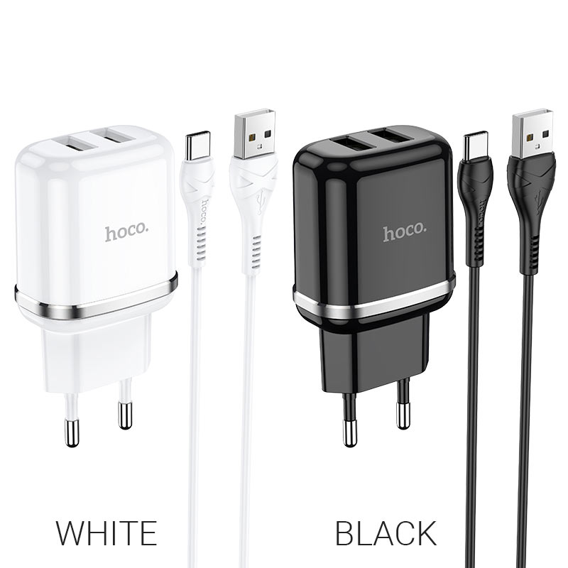 hoco n4 aspiring dual port wall charger eu set with type c cable colors