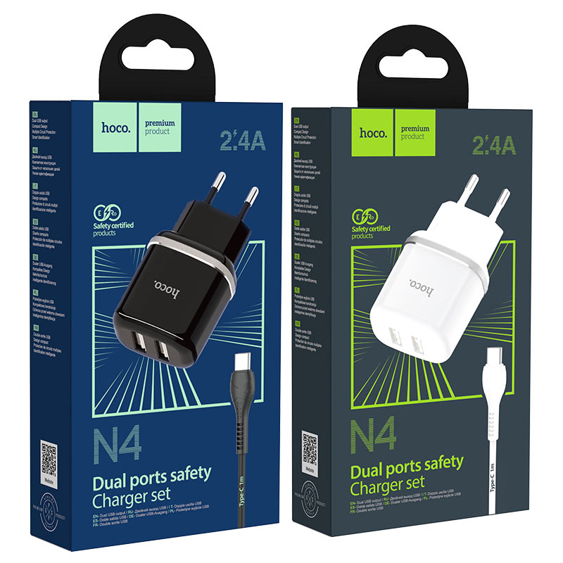 hoco n4 aspiring dual port wall charger eu set with type c cable packages