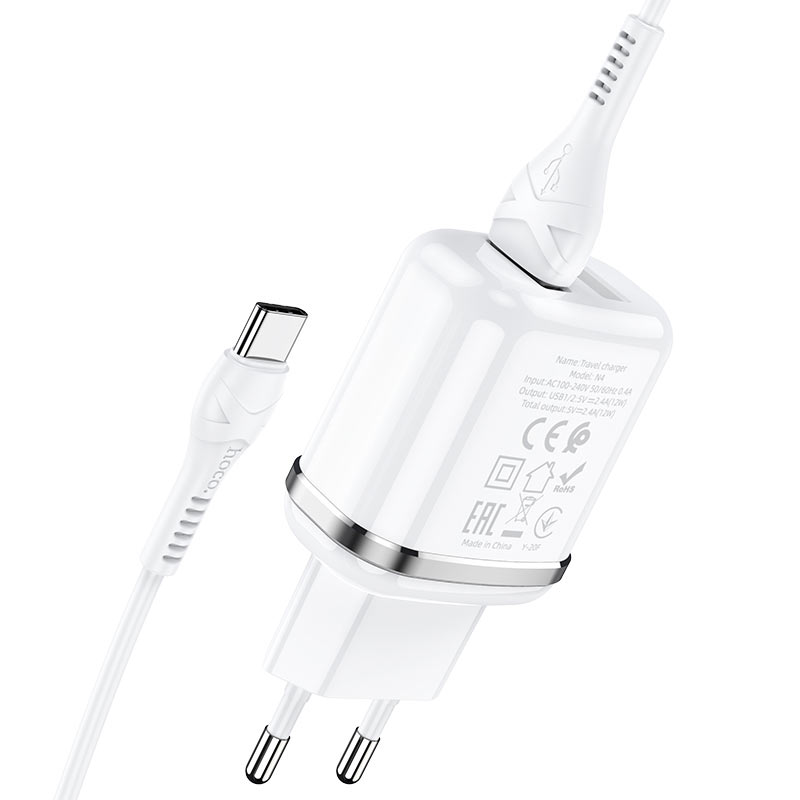 hoco n4 aspiring dual port wall charger eu set with type c cable