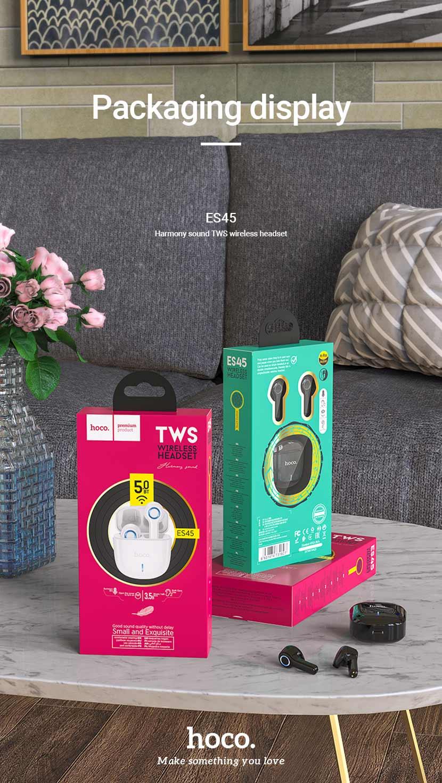 hoco news es45 harmony sound tws wireless headset package en