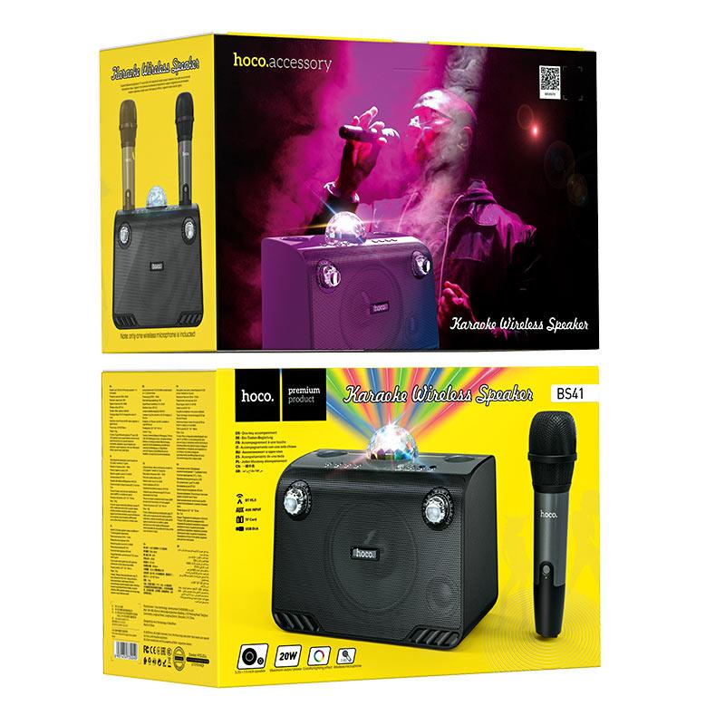 hoco bs41 warm sound k song wireless speaker package