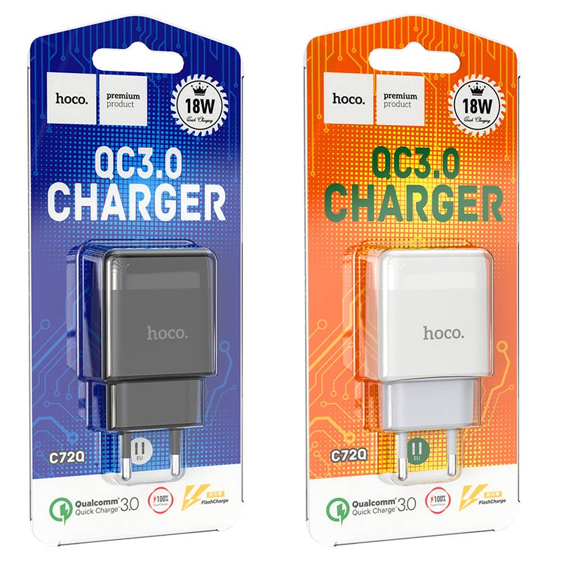hoco c72q glorious single port qc3.0 wall charger eu packages