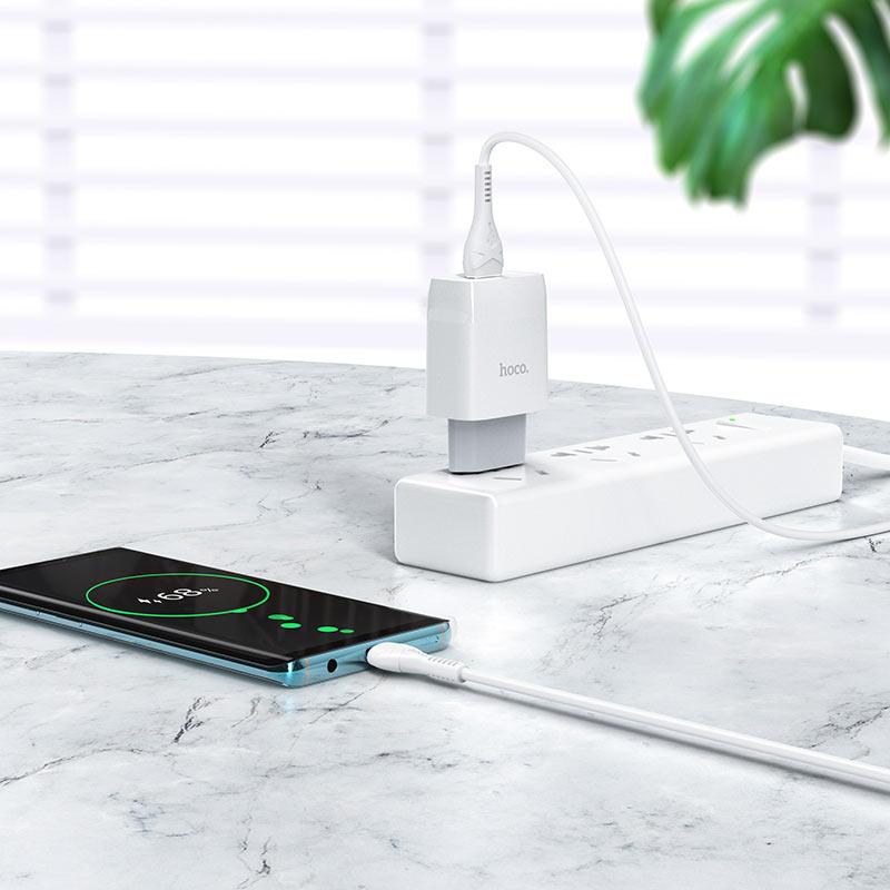 hoco c72q glorious single port qc3.0 wall charger eu set micro usb charging