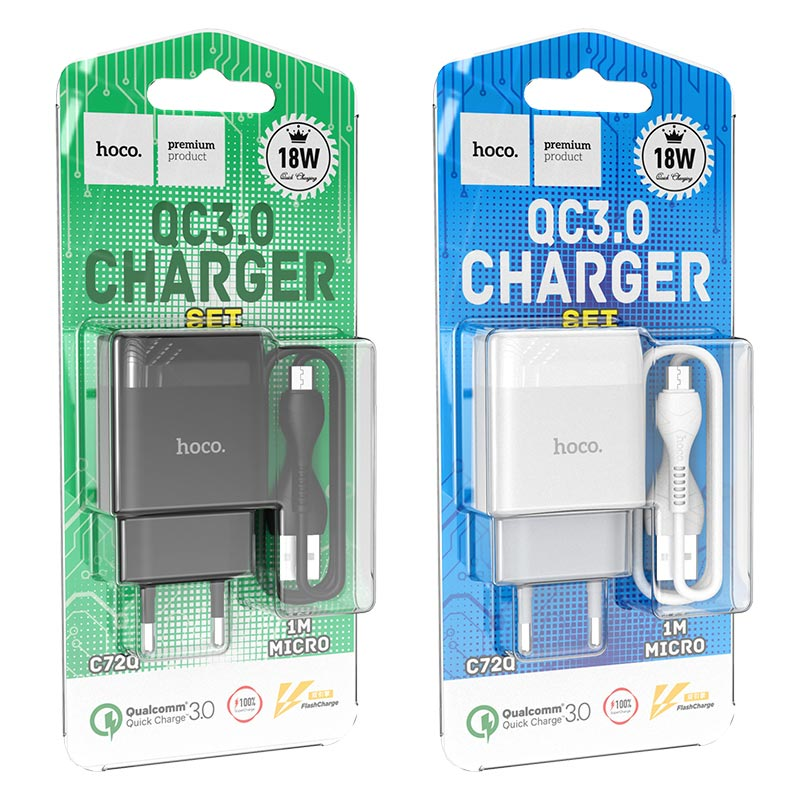 hoco c72q glorious single port qc3.0 wall charger eu set micro usb packages