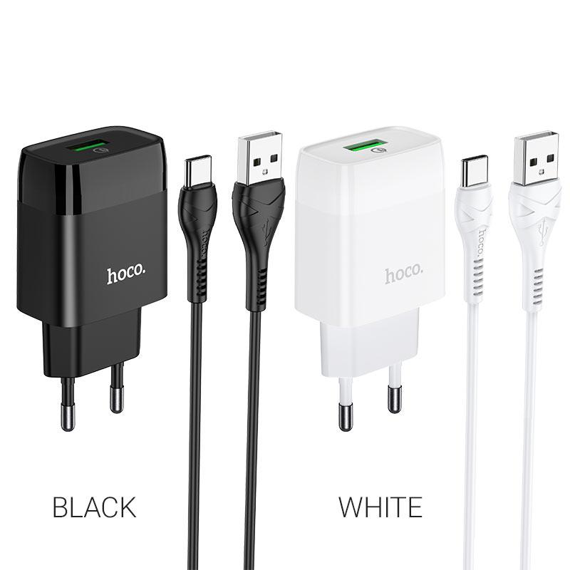 hoco c72q glorious single port qc3.0 wall charger eu set type c colors