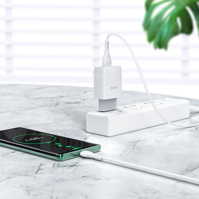 hoco c72q glorious single port qc3.0 wall charger eu set type c outlet