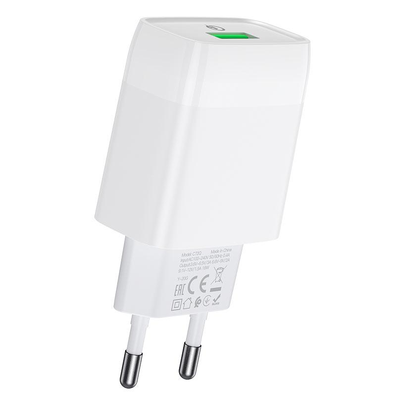 hoco c72q glorious single port qc3.0 wall charger eu usb
