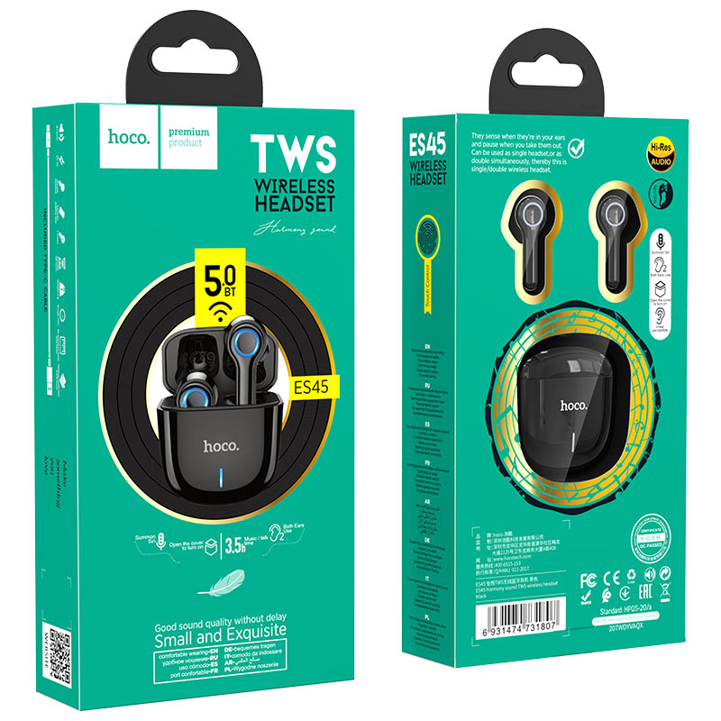 hoco es45 harmony sound tws wireless headset black package