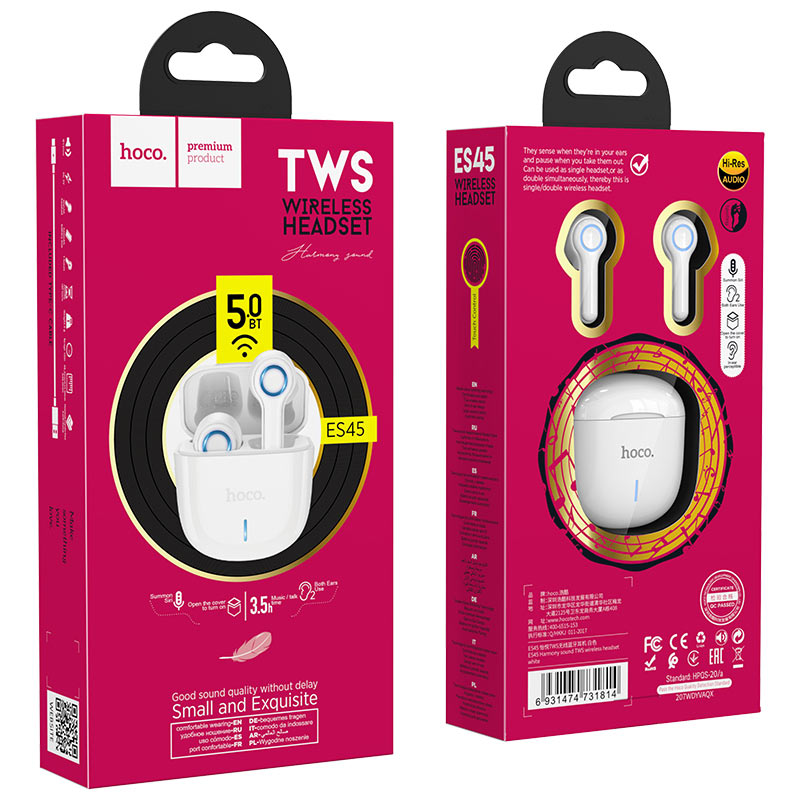 hoco es45 harmony sound tws wireless headset white package