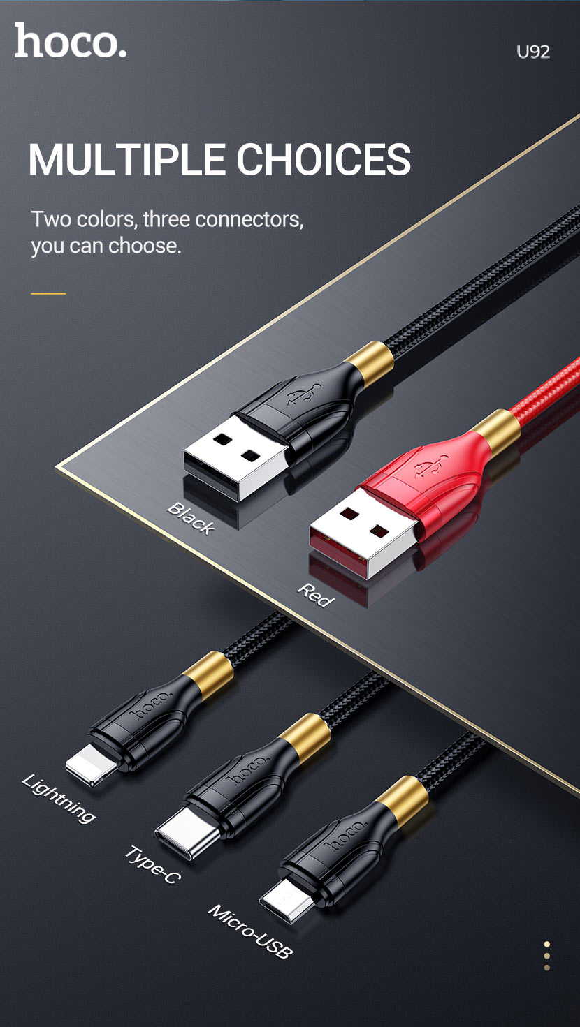 hoco news u92 gold collar charging data cable colors en