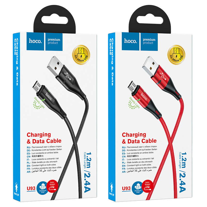 hoco u93 shadow charging data cable for micro usb packages