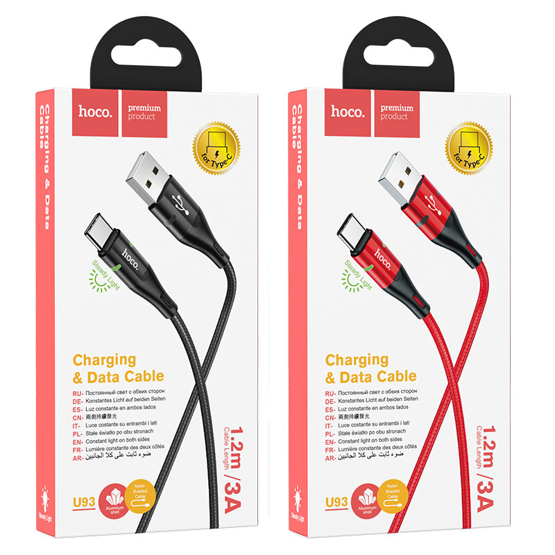 hoco u93 shadow charging data cable for type c packages