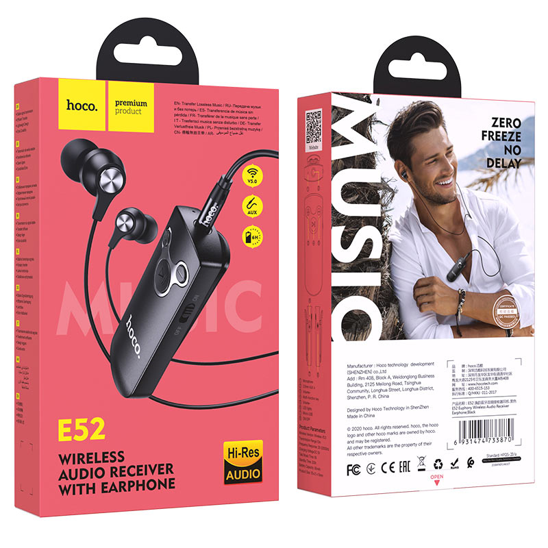 hoco e52 euphony wireless audio receiver earphone package black