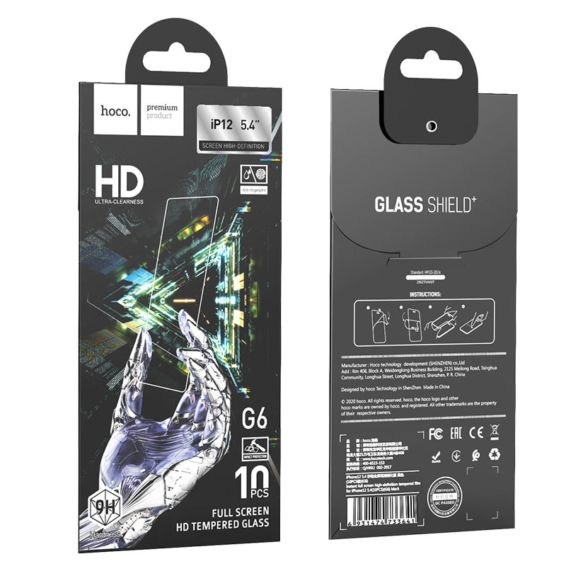 hoco instant full screen high definition tempered film g6 set for iphone12 mini package