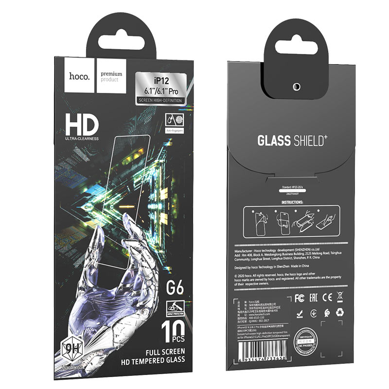 hoco instant full screen high definition tempered film g6 set for iphone12 pro package