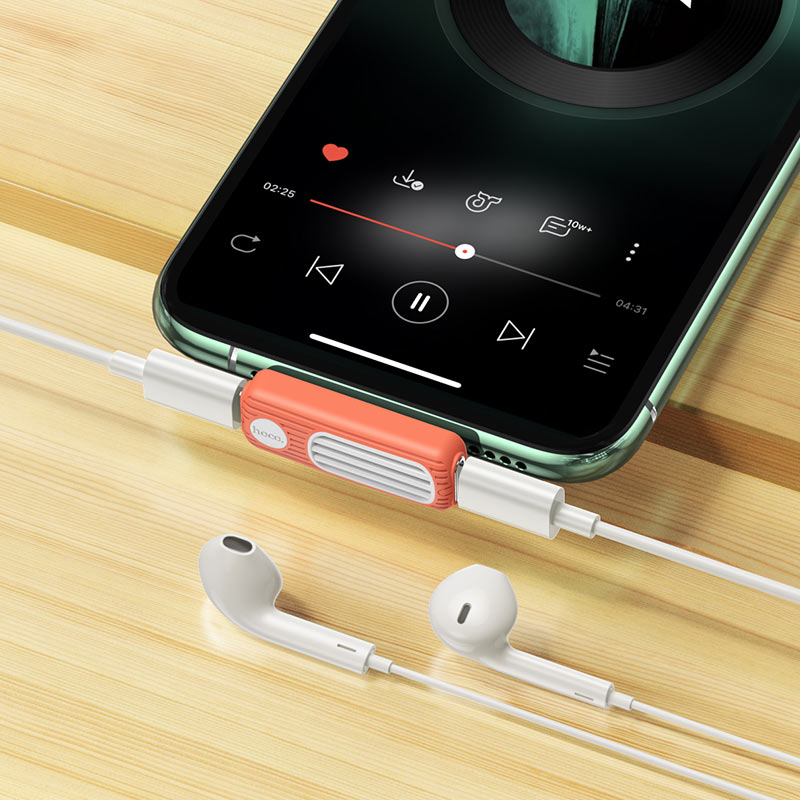 hoco-ls29-двойной-lightning-аудио-конвертер-интерьер-оранжевый