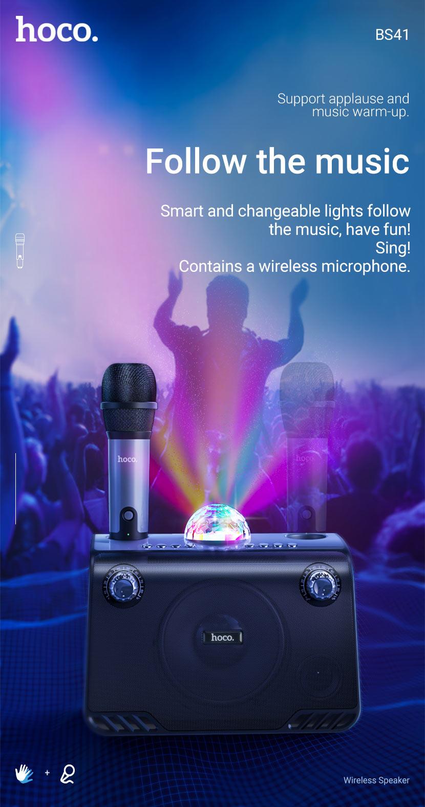 hoco news bs41 warm sound k song wireless speaker microphone en