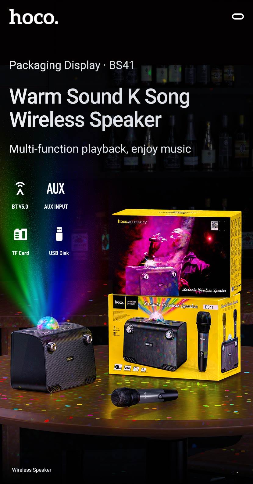 hoco news bs41 warm sound k song wireless speaker package en