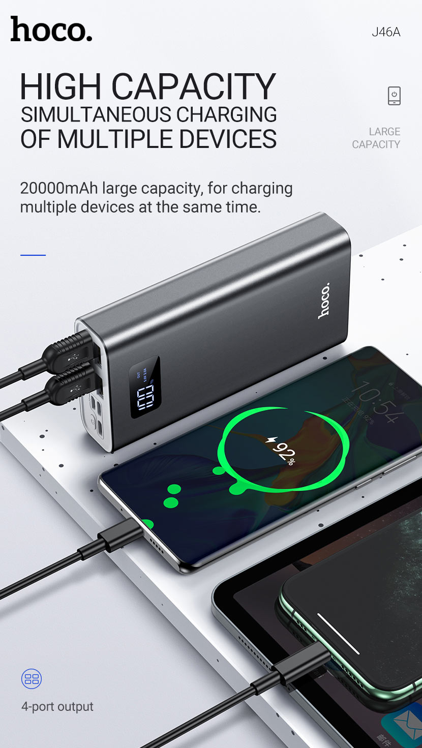 hoco news j46a star ocean mobile power bank 20000mah charging en