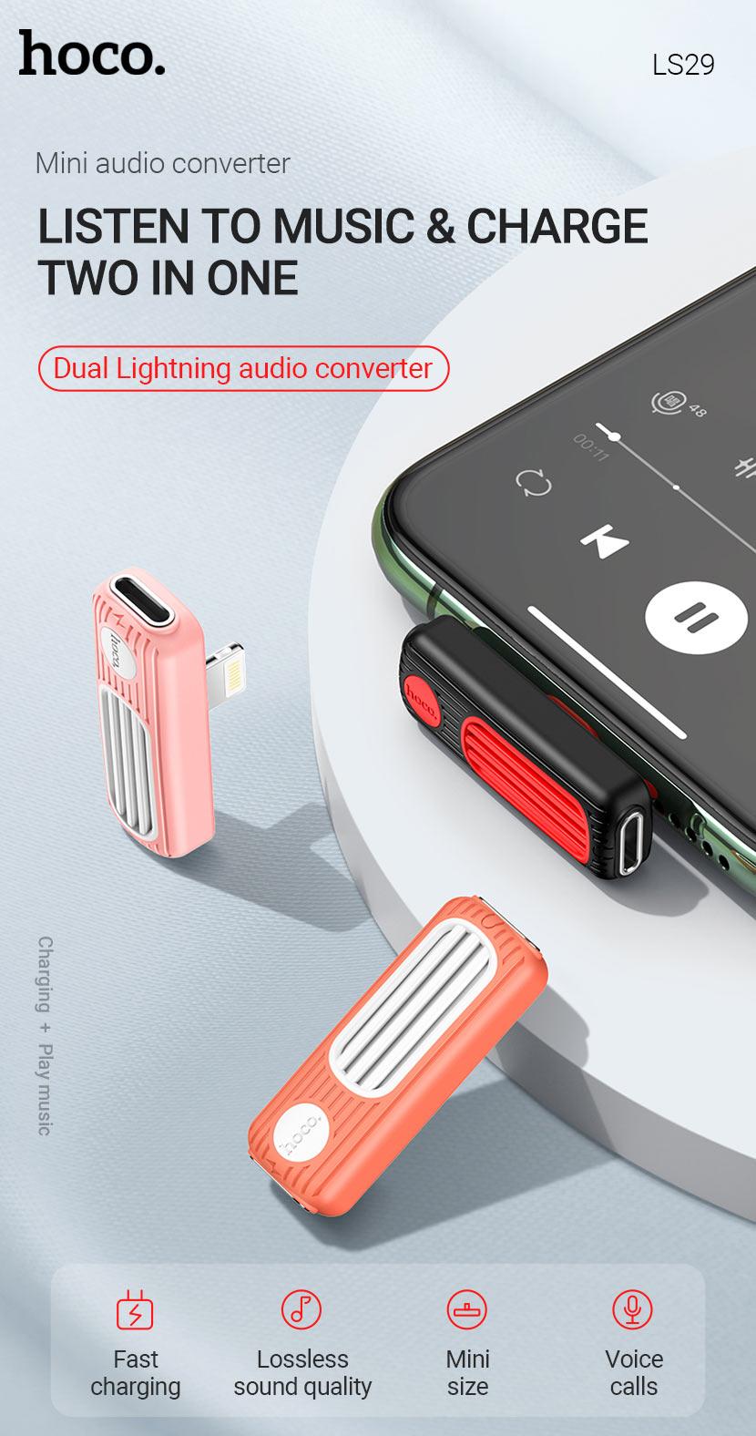 hoco news ls29 dual lightning digital audio converter two in one en