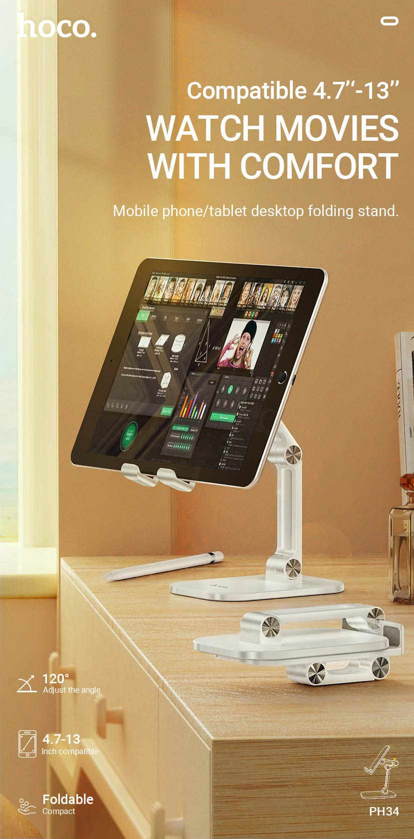 hoco news ph34 excelente double folding desktop stand en