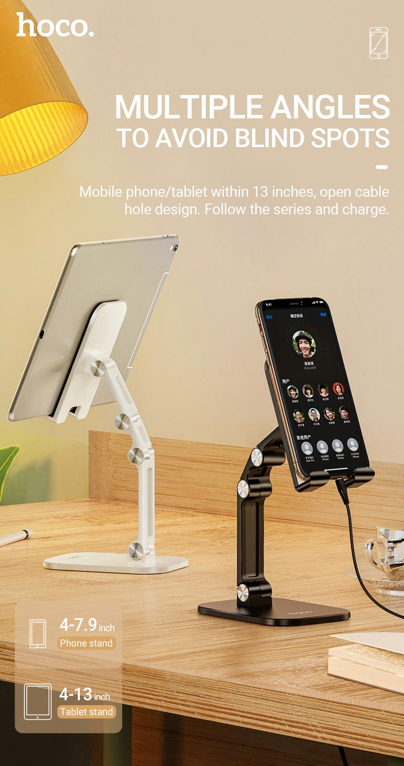 hoco news ph34 excelente double folding desktop stand phone tablet en