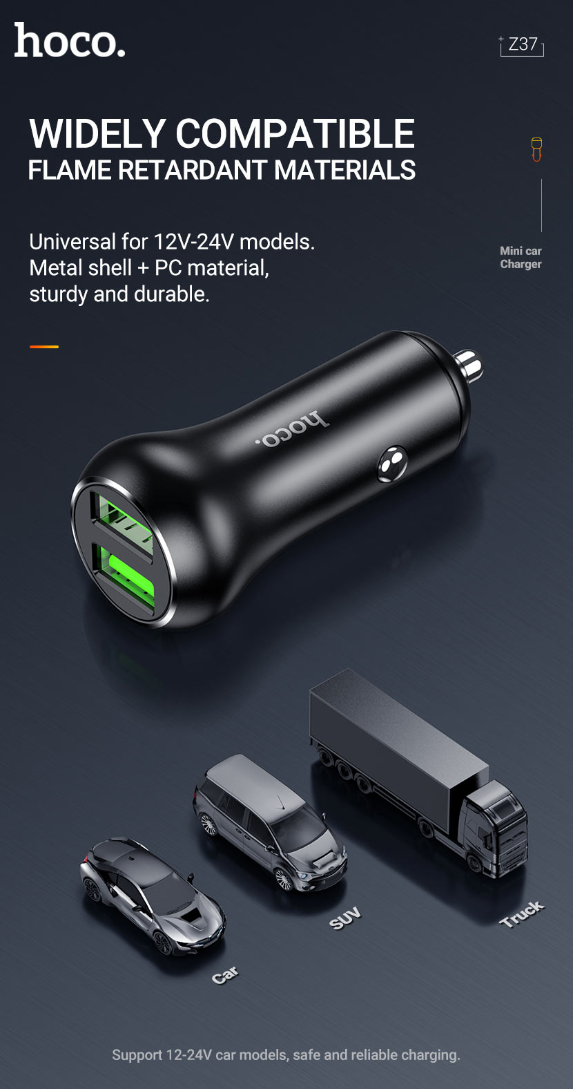 hoco news z37 sharp speed dual port qc3 car charger compatible en