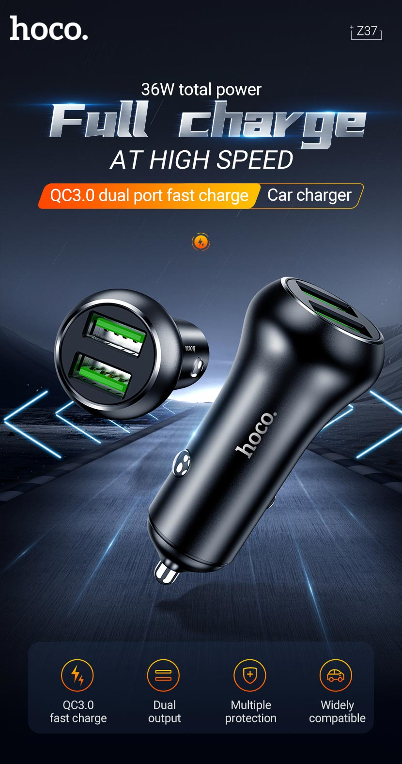 hoco news z37 sharp speed dual port qc3 car charger en