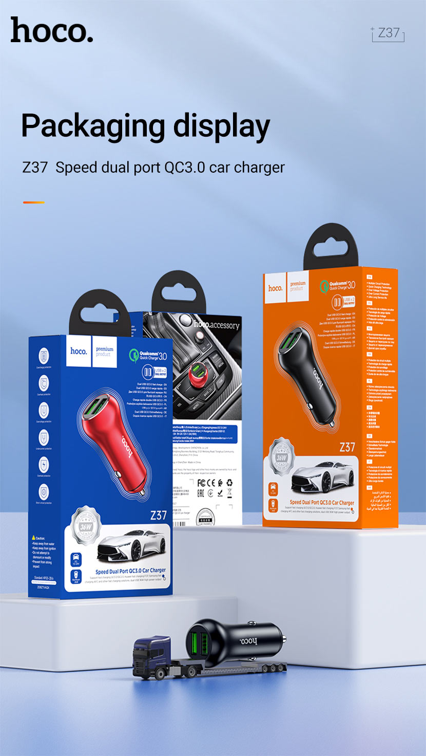 hoco news z37 sharp speed dual port qc3 car charger package en
