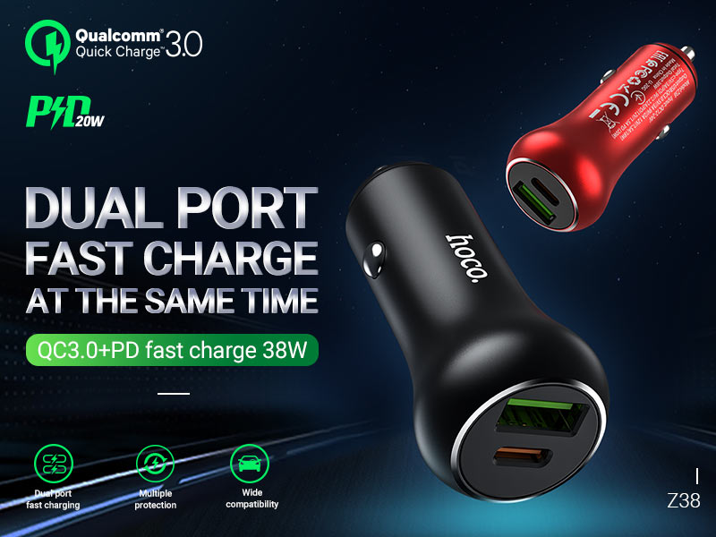 hoco news z38 resolute pd20w qc3 car charger banner en