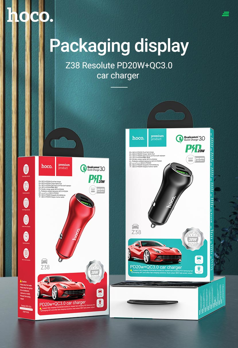 hoco news z38 resolute pd20w qc3 car charger package en