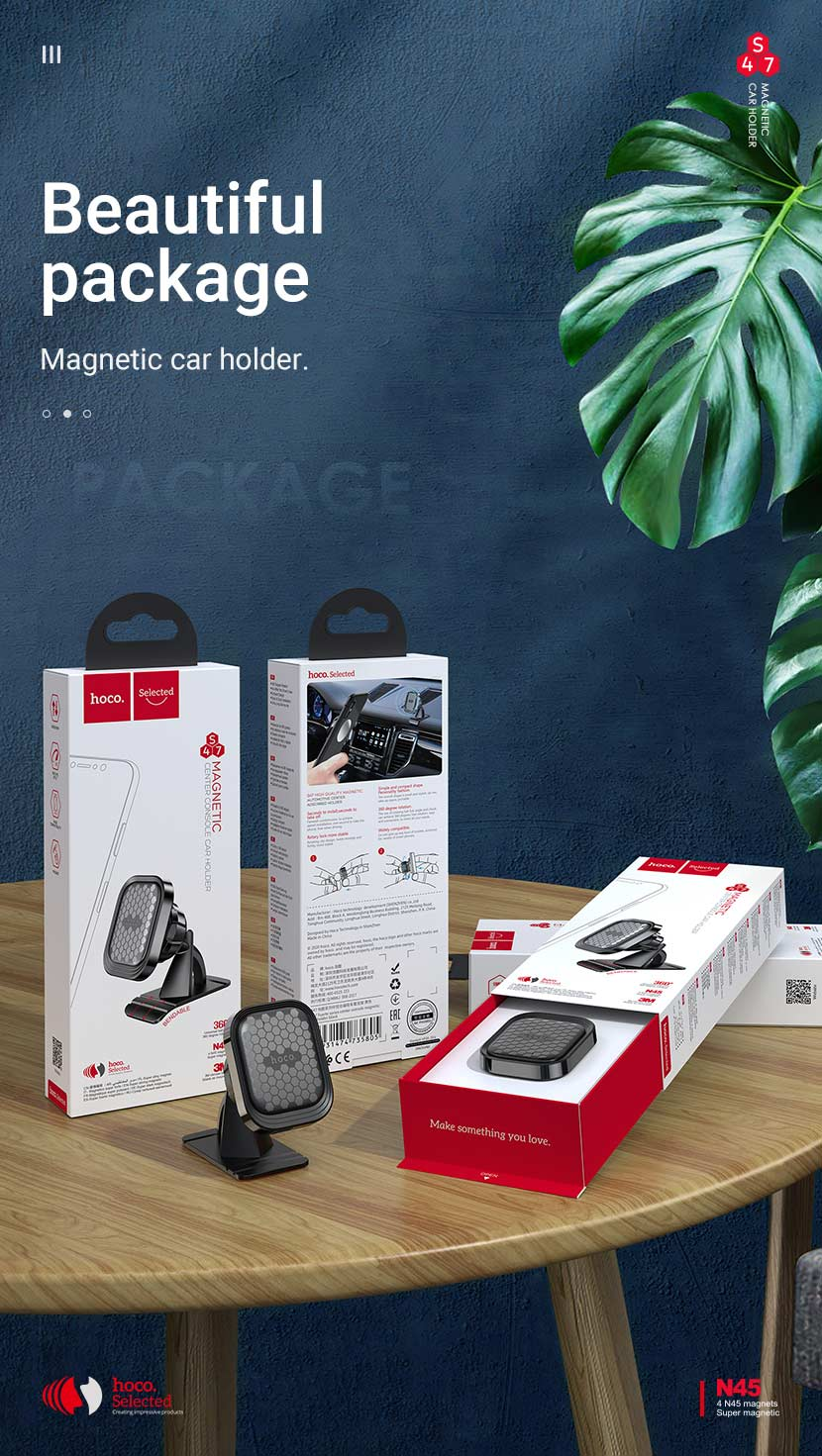 hoco selected news s47 fuerte series center console magnetic car holder package en