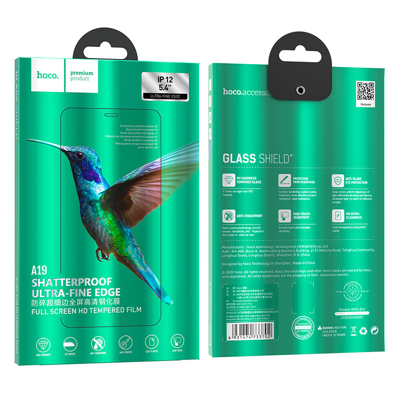 hoco shatterproof ultra fine edge full screen hd tempered film a19 for iphone12 mini package
