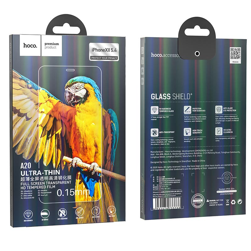 hoco ultra thin full screen transparent hd tempered film a20 for iPhone12 mini package