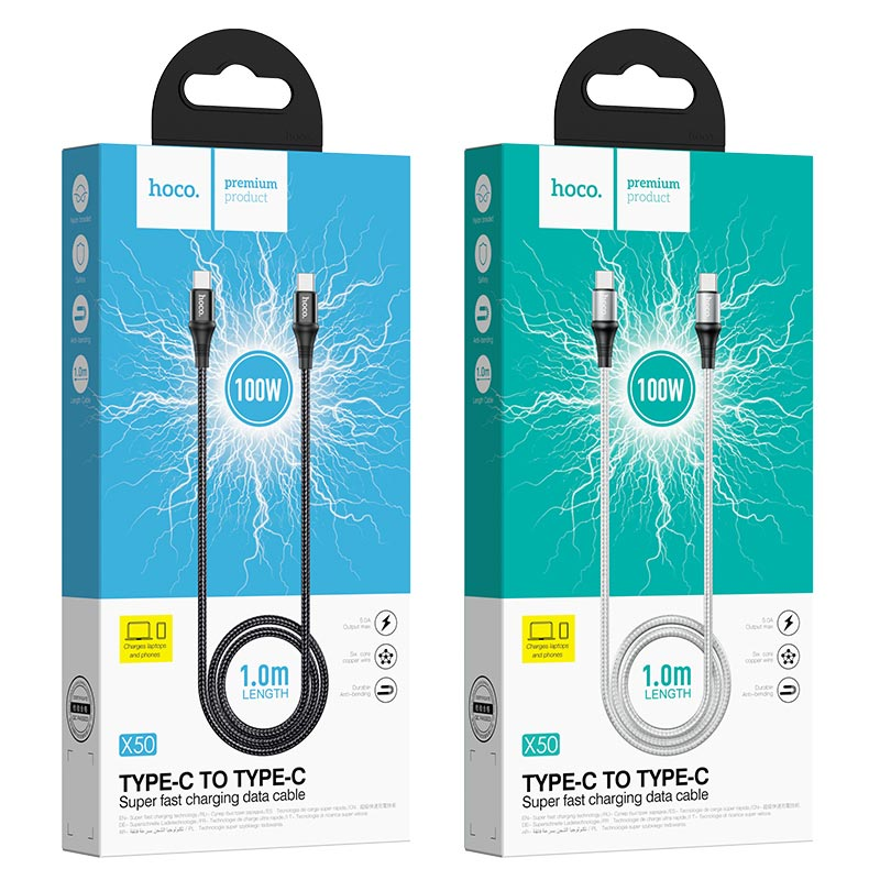 hoco x50 type c to type c exquisito 100w charging data cable packages 1m