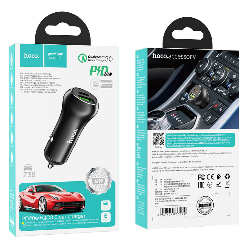 hoco z38 resolute pd20w qc3.0 car charger package black