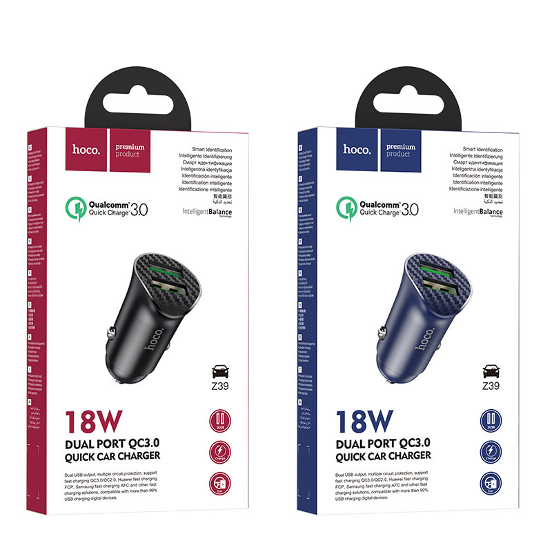 hoco z39 farsighted dual port qc3.0 car charger packages