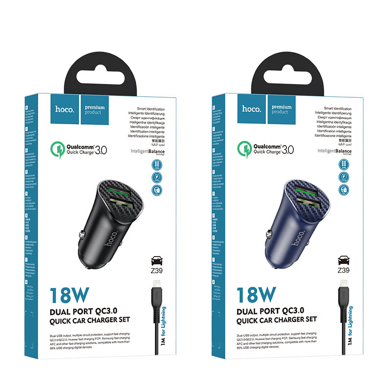 hoco z39 farsighted dual port qc3.0 car charger set with lightning cable packages