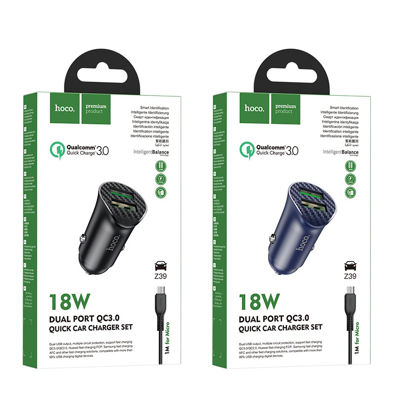 hoco z39 farsighted dual port qc3.0 car charger set with micro usb cable packages