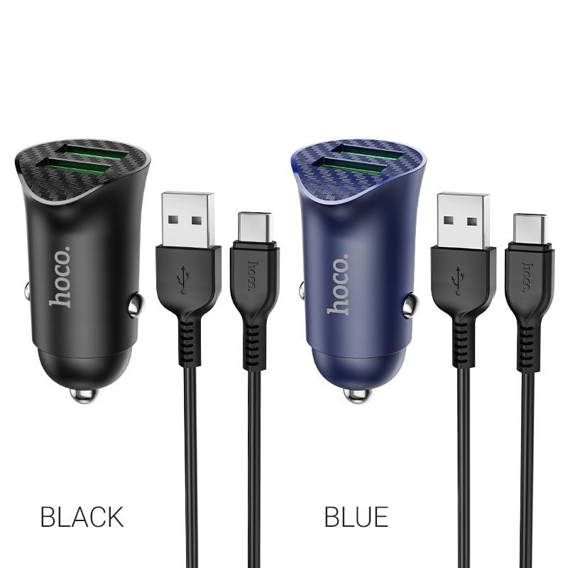 hoco z39 farsighted dual port qc3.0 car charger set with type c cable colors