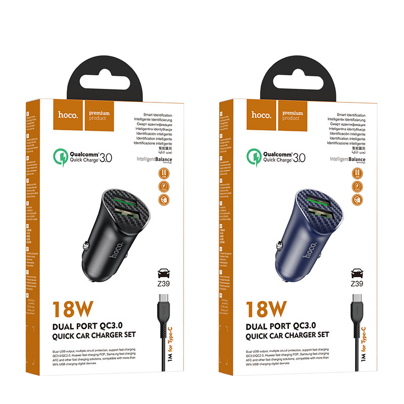 hoco z39 farsighted dual port qc3.0 car charger set with type c cable packages