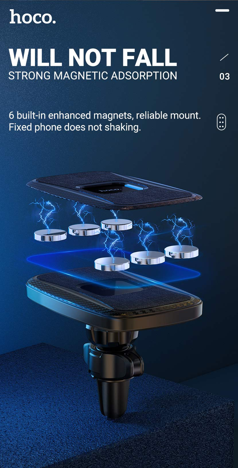 hoco news ca75 magnetic wireless charging car holder adsorption en