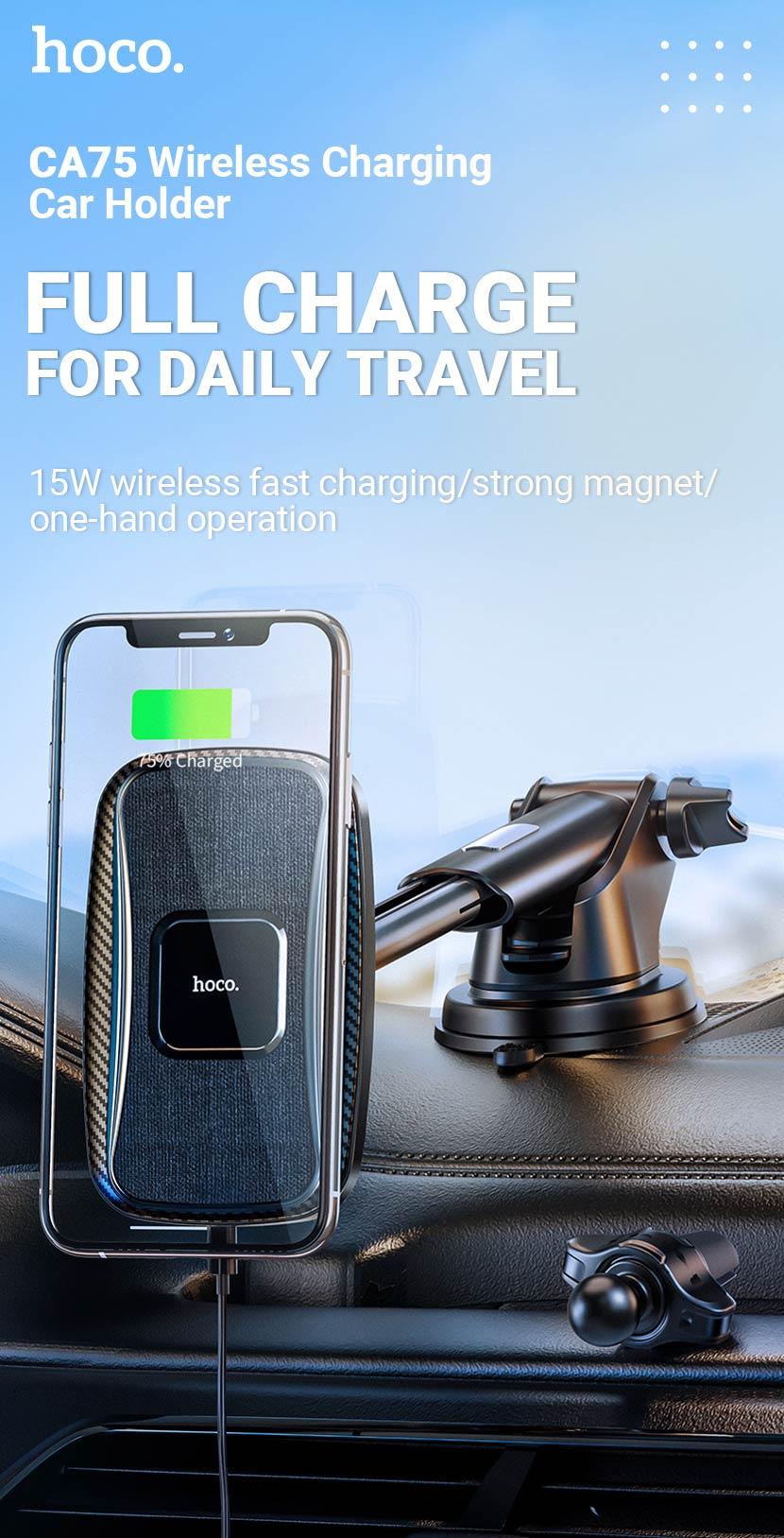hoco news ca75 magnetic wireless charging car holder en