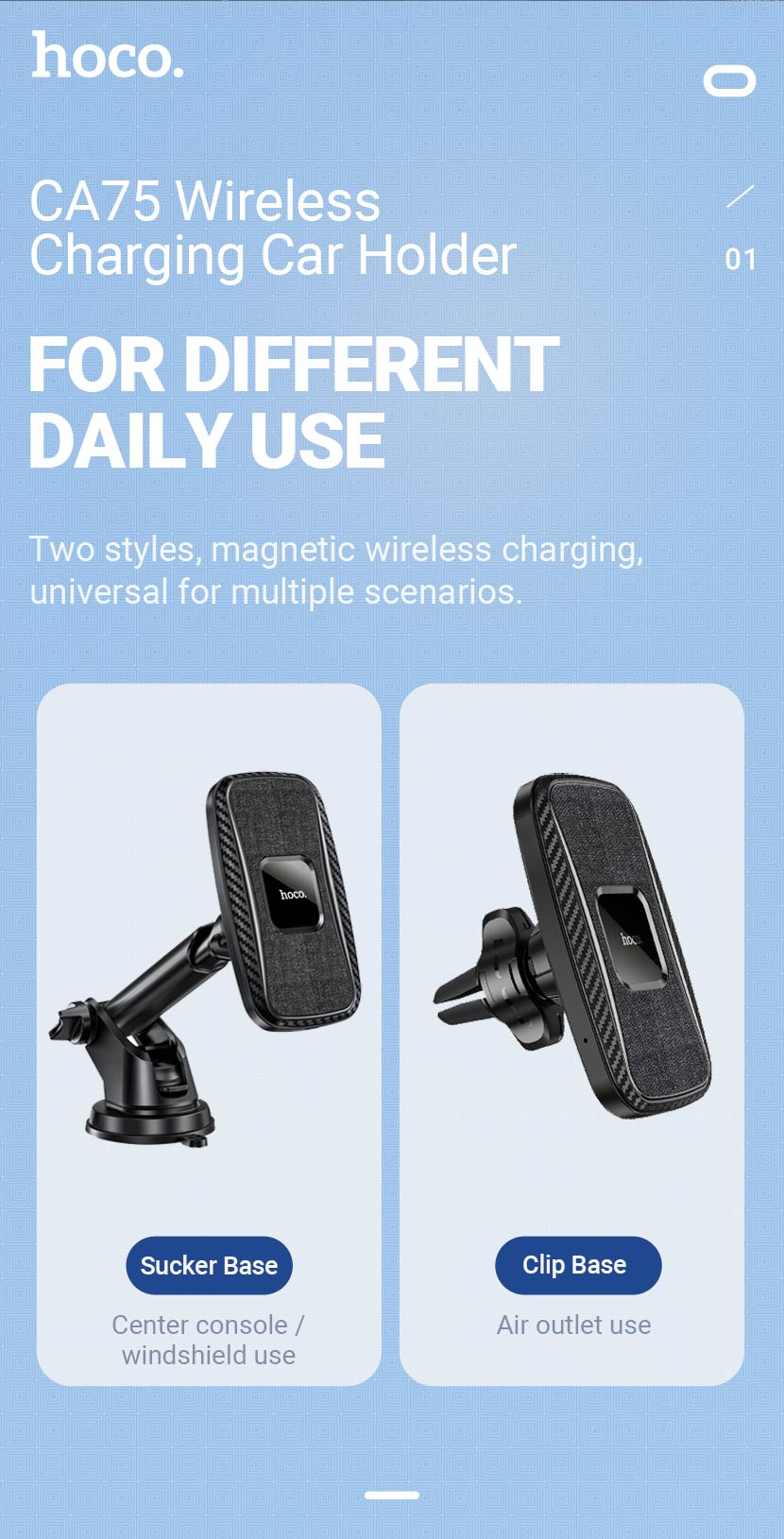 hoco news ca75 magnetic wireless charging car holder universal en